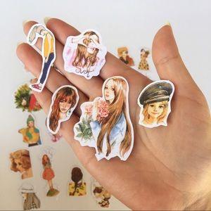 Watercolor girl portrait stickers